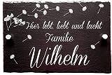 Haus Türschild Schiefer personalisiert mit Wunschnamen   Hausschilder mit Namen aus Schiefer   Familien Hausschild 20 x 30 cm   Türschild mit Name   Türschilder mit Gravur   Haus Türschilder mit Namen