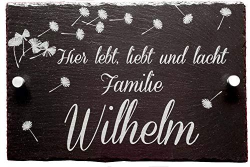 Personalisiertes Haus-Türschild, aus Schiefer, Individuelle mit Wunschnamen, 20 x 30 cm, Hausschild mit Namen, Familien Hausschild, Türschild mit Namen, Türschilder mit Gravur, Die Geschenke Manufaktur