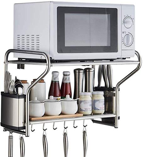 Multifunctionele storage storage rack Keuken Shelf Microwave Shelf met mes en Chopsticks Box Anti-Corrosie Roest RVS wand-2-Layer Kruidenrek keuken rekken (Size : 53X38X36.5cm)
