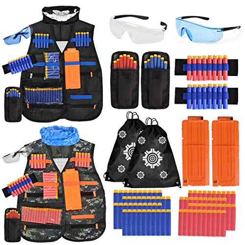 Meland Kids Tactical Vest - 2Pack Adjustable Tactical Jacket Vest Kit for Nerf Guns N-Strike Elite Series Toys with 80Dart Bullets, 2Boys Tactical Vests, 2Reload Clip, 2Face Mask,2Wrist Band&2 Glasses