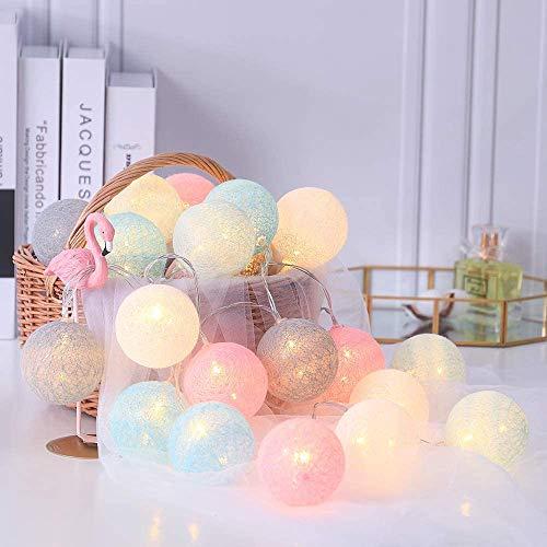 Luces decoración de Habitación con Forma de Bolas de Lana, Luces Led Iluminación de Interior, Pilas o Enchufe USB, 20 Bolas de 60 mm, Rosa Macarón