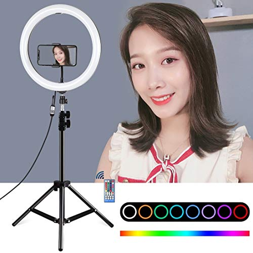 Ring lichten Dual Phone Beugels Horizontale houder + statief + 11,8 Inch 30cm rond oppervlak RGB dimbare LED-Dual Colour Temperature LED Ring Vlogging Video Light Live-uitzending Kits Met Cold Shoe Tr
