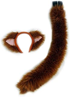 Pawstar Brown Furry Kitty Cat Ears Headband & Tail Set