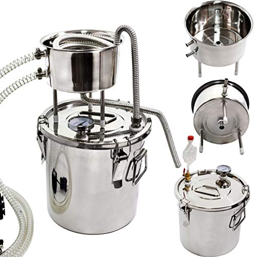 Destilador de alcohol Moonshine Still - Kit de destilador de agua para vino y hervidor de vino en casa de acero inoxidable 3 Gal / 12L plata