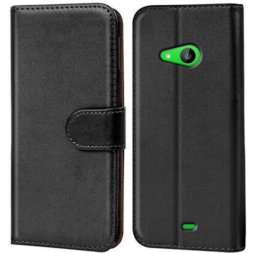 Verco Lumia 535 Hülle, Handyhülle für Microsoft Lumia 535 Tasche PU Leder Flip Case Brieftasche - Schwarz