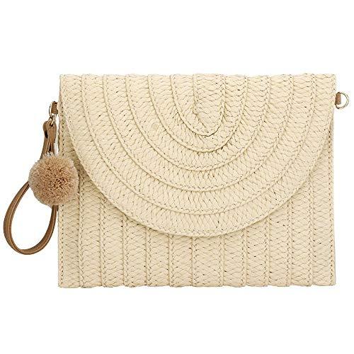 Bolso de mano vintage tejido a mano de moda para mujer - Estilo bohemio de moda simple borla bolso de mano de paja bolsa de verano bolsa de playa embrague
