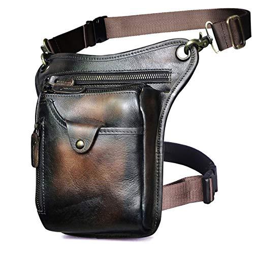 Le'aokuu Mens Genuine Leather Motorcycle Waist Pack Messenger Shoulder Drop Leg Bag (211-5 Dark Brown 3)