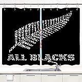 JISMUCI Cortina de Cocina El Equipo de Rugby All Blacks de Nueva Zelanda Juegos de Tratamiento de Ventanas Cortinas 2 Paneles con Ganchos,140x100CM