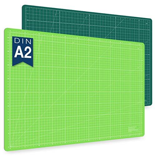 Selbstheilende Schneidematte A2 in Grün, Pink, Blau. Ideal zum Nähen, Basteln & Patchworken. 60x45 beidseitig bedruckt. cm & inch Angabe
