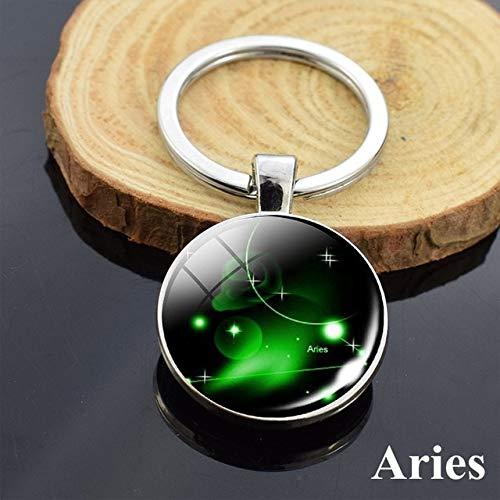 DSBN Sleutelhanger mode 12 sterrenbeelden sleutelhanger Astrologie Pendnat Double Side Constellation Kunst metaal sleutelhanger autosleutel ring riem