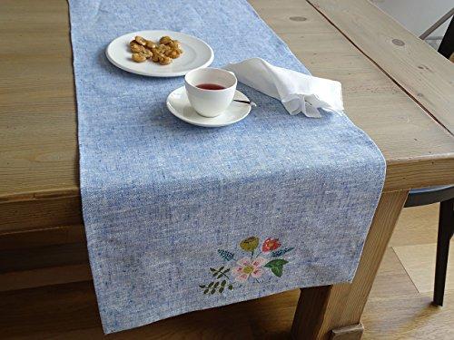 Camino de mesa floral azul
