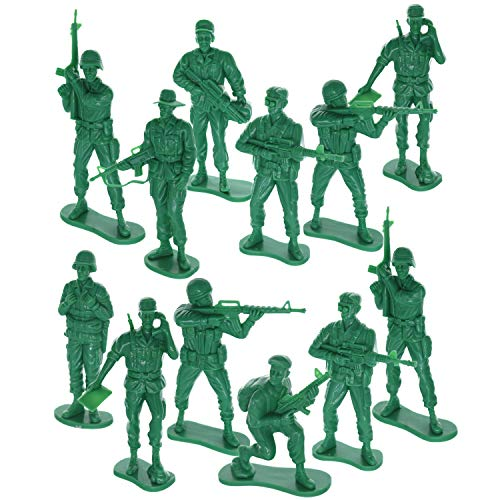 GIFTEXPRESS 12 pcs 5' Green Army Action Figures, US Army Men Military Soldier Set, Soldiers Toy Figures, Military Figure Collection