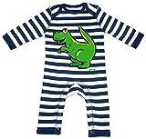 Hariz - Pelele para bebé, diseño de rayas Tyrannosaurus T-Rex verde, dinosaurio T-Rex, incluye tarjeta de regalo azul marino y blanco lavado, 3 – 6 meses