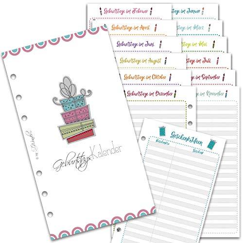 SinnWunder® Kalender-Einlagen - Immerwährender Geburtstags-Kalender, Geburtstags-Planer, Geschenke-Listen - Größe Personal - B-DaySinn