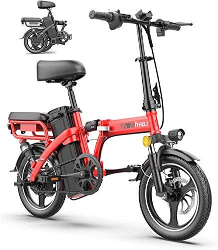 Bici electrica, Bicicleta eléctrica plegable de 14' de aleación ligera plegable Ciudad de bicicletas for adultos Ciudad de montaña de la bicicleta de refuerzo for Deportes Ciclismo Viajes Tráfico