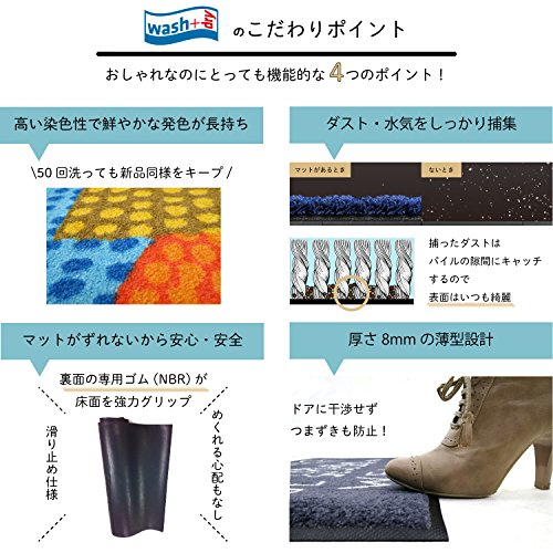 クリーンテックス ジャパン wash+dry薄型で丈夫な洗える玄関マット Blumello 60×180cm 1枚