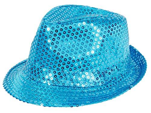 Alsino Clubstyle Partyhut Trilby Hut Blink Fedora Bogart Glitzerhut Glitter, Farbe wählen:TH-64 türkis