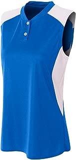 Women's Sleeveless 2-Button Moisture Wicking 2-Color Athletic Shirt/Uniform Jersey Top