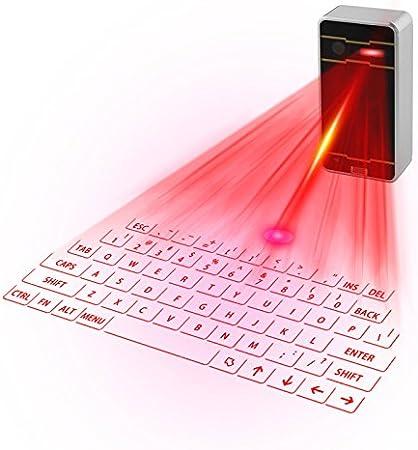 Mini Teclado Láser Virtual Bluetooth Inalámbrico Proyector Mini Teclado Portátil para Recargable, Disposición Inglesa para Smartphone, Tablet, PC