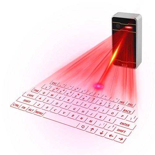 Bluetooth Mini Tastatur Drahtlose virtuelle Projektionstastatur Tragbare wiederaufladbare englische QWERTZ-Layout für Smartphone Tablet PC Laptop (Schwarz)