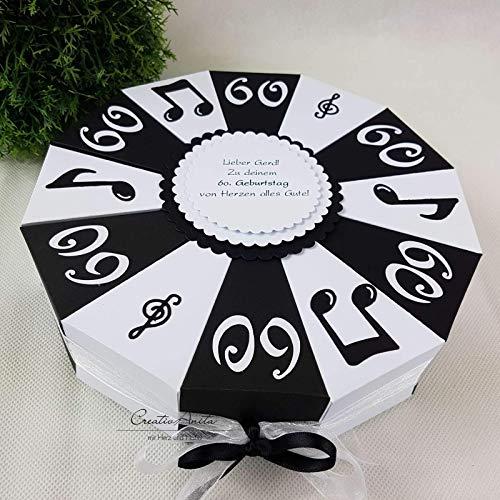Schachteltorte - Geschenkverpackung zum Runden Geburtstag - Männergeschenk mit Noten SCHWARZ-WEISS