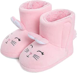GaraTia Boys Girls Slippers Booties Plush Animal House Slippers Toddler Kids Fuzzy Indoor Shoes