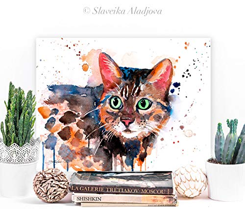 Bengal cat watercolor...