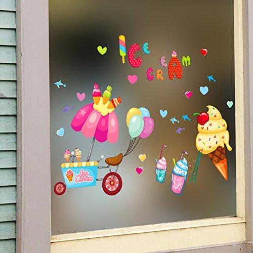 CDFGDJGGDGD Pvc verwijderbare muursticker, Ijs Koude dranken winkel gevel decoratie Glas stickers Cartoon schattige koelkast deur stickers-A 61x41cm (24x16inch)