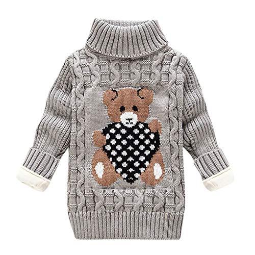 LEXUPE Kleinkind Kinder Baby Mädchen Jungen Bär Print Pullover Stricken Häkeln Tops Kleidung Outfits(E-Grau,110)