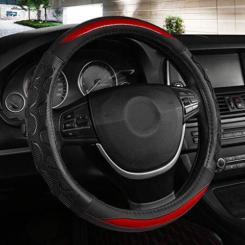 Black Panther Luxury Leather Car Steering Wheel Cover with 3D Honeycomb Hole Anti-Slip Design, 15 Inch Universal - Red