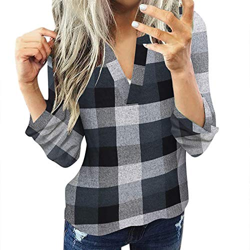 (BATKKM Women Long Sleeve Flannel Plaid Shirt Pullover Sexy V Neck Tops Casual Loose Slim Jacket Tunic T Shirts BlousesGray,L)