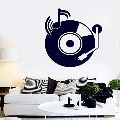 Plakplaatstickers in vintage-design, voor muziekspelers, platenspelers, vinyl, muurstickers, voor slaapkamer, woonkamer, studio, decoratie, 57 x 58 cm
