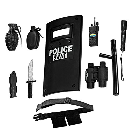 Dress Up America Police Toys Role Play - Ultimate All-in-One Police Costume for Kids – Police Officer SWAT Gear Set Includes Shield, Adjustable Belt, Flashlight & More, Durable Pretend Play