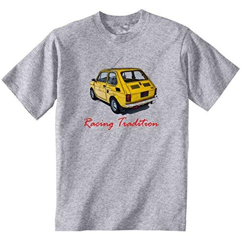TEESANDENGINES Fiat 126 P Racing 1 Tshirt di Cotone da Uomo Grigio Size XXLarge