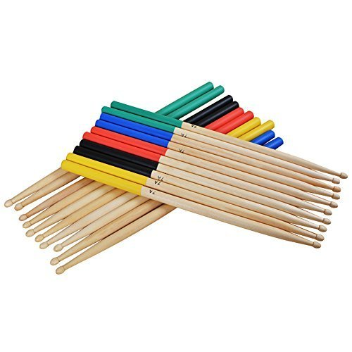 Muse 5 Pairs/Set 7A Maple Drum Sticks For Kids/Children, Fit For All Drum Sets Drum Accessories Multi Color