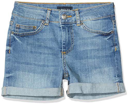 PIECES Damen PCFIVE Delly B320 MW LBLD Shorts, Blau (Light Blue Denim), 38 (Herstellergröße: M)
