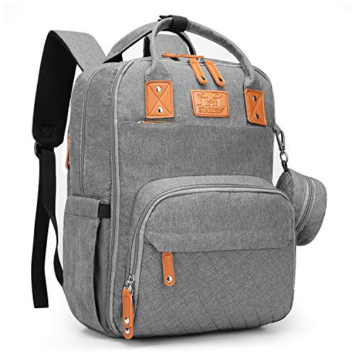 Diaper Bag Backpack with Portable Changing Pad, Water Resistant Nappy Bag Travel Backpack with Multi-Pockets, Stroller Straps, Bottle Bag (Gray)