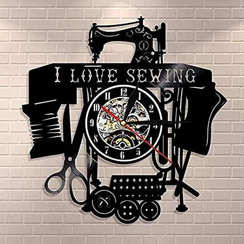 BBZZL Me Gusta acolchar Coser Arte de Pared máquina de Coser Retro Reloj de Pared Disco de Vinilo Reloj de Pared Sala de Costura sastrería decoración