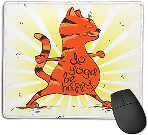 Alfombrilla de ratón para juegos, divertido gato rojo de dibujos animados haciendo posición de guerrero de yoga, alfombrilla de ratón con base de goma antideslizante para ordenadores portátiles Alfomb