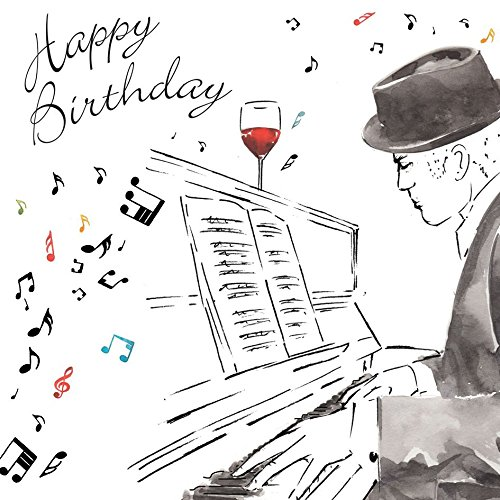 Twizler Happy Birthday Karte für Ihn mit Silberfolie & einzigartigem Aquarell-Effekt - Männliche Geburtstagskarte - Herren Geburtstagskarte - Klavierkarte