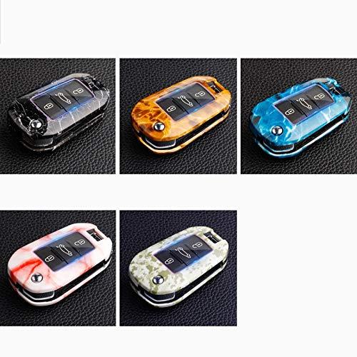 Cubierta de la Llave del Coche Caja de claves de coches ABS Compatible con Peugeot 3008 5008 408 2008 308 508 Compatible con Citroen C4 C5 C6 C4L Cactus DS4 DS5L DS6 Elysee Llavero ( Color : B Pink )