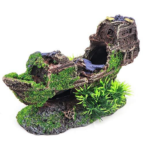 Aqua KT Aquarium Sunken Ship Boat Ornament for Aquatic Landscape Fish Tank Decoration