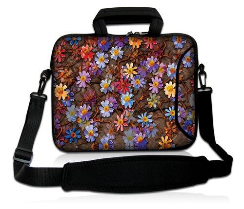 Luxburg® Design Laptoptasche Notebooktasche Sleeve mit Schultergurt & Fach für 15,6 Zoll, Motiv: Blumenteppich