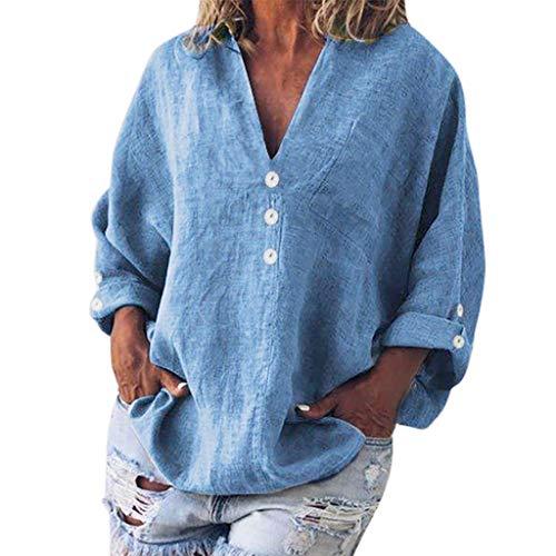 Reooly Arriba 2019, Manera de Las Mujeres más el tamaño sólido de Lino Casual con Cuello en V del botón de la Blusa de la Camiseta
