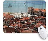 VAMIX マウスパッド 個性的 おしゃれ 柔軟 かわいい ゴム製裏面 ゲーミングマウスパッド PC ノートパソコン オフィス用 デスクマット 滑り止め 耐久性が良い おもしろいパターン (中央リスボンの街並みと屋根と海の旧市街ノスタルジックシティ)
