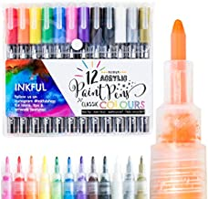 Acrylic Paint Pens by Inkful - Set of 12 Classic Colors with Fine Tip (1 mm) Paint Markers. Non-toxic, Waterproof, Fade-Resistant, Water-Based Art Pens for Rock Painting, Ceramic, Wood, Canvas.
