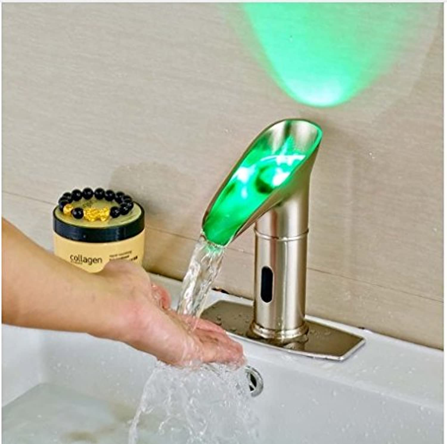 Gowe? Best Quality New Arrival Bathroom Basin Faucet with LED Light & Hole Cover Plate