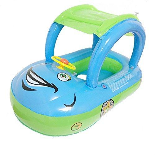 Flotador inflable para nadar con asiento de agua con sombra, dosel de cuerno de natación, ayuda escolar divertido, entrenador azul