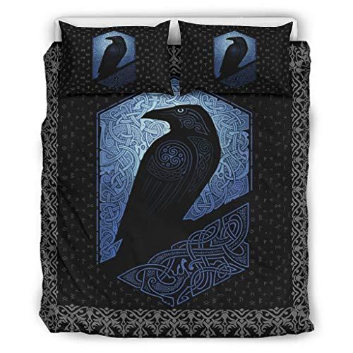 Wandlovers Juego de ropa de cama de 3 piezas, azul, vikingo, Odin Rabe Trisceli, diseño celta, funda de edredón y fundas de almohada, 264 x 229 cm, color blanco