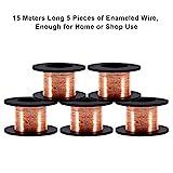 5pcs Alambre de cobre esmaltado, alambre esmaltado Reparación Diámetro del alambre 0.1 mm Longitud 15 m